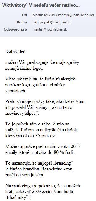 Textová kampaň Martin Mikláš