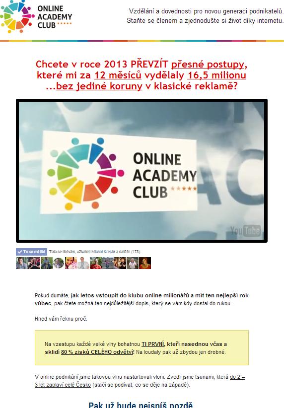 Prodejní stránka Online Academy Club