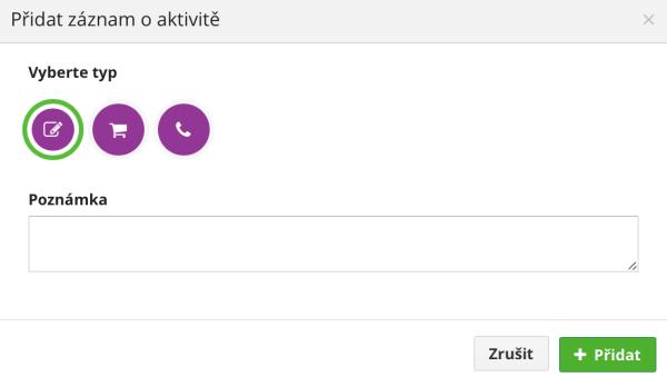 Screen funkce: Záznam o aktivitě