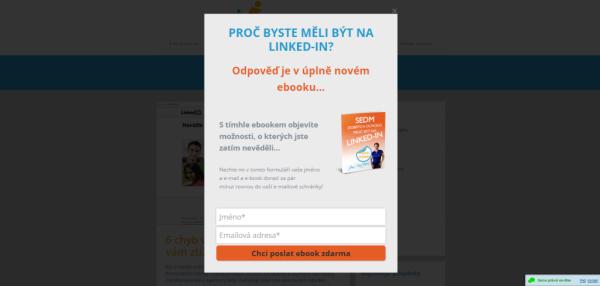 Ukázka pop-up formuláře nawebu www.ziskamdobroupraci.cz
