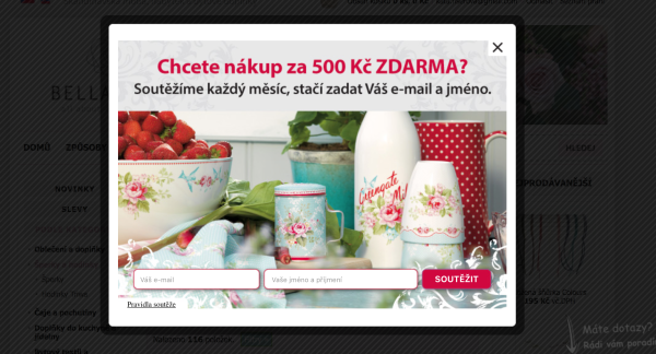 Ukázka pop-up formuláře naeshopu www.bellarose.cz