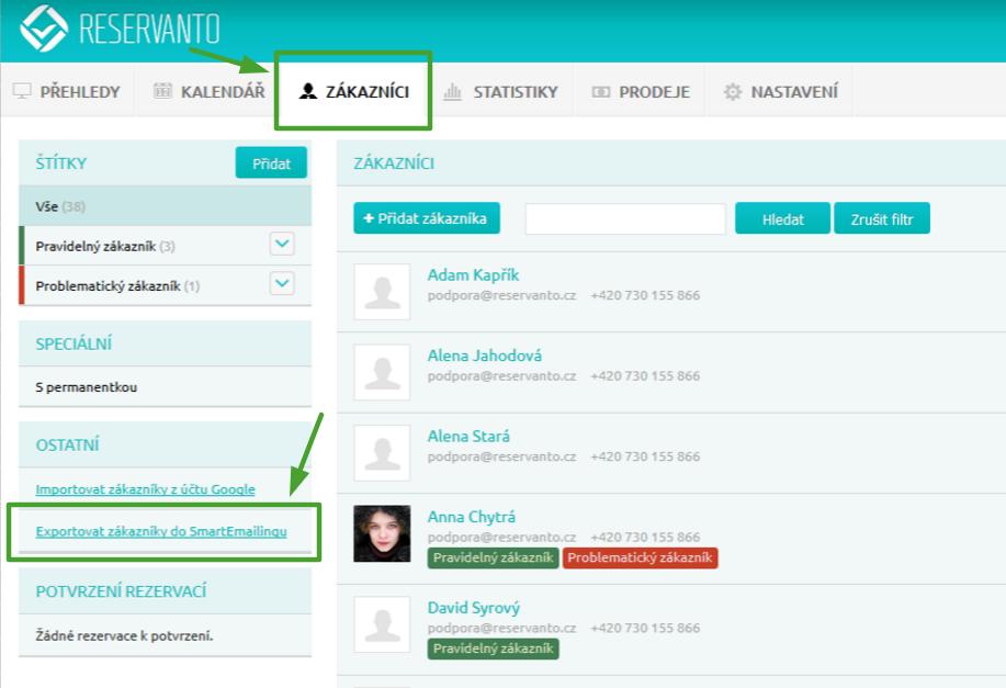 Reservanto_export do SmartEmailingu_krok1